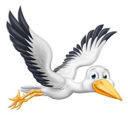Un pájaro de dibujos animados de cigüeña o grúa volando por el aire
