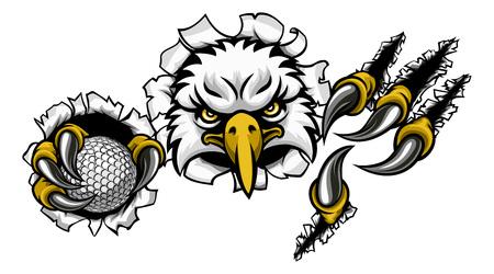 Eagle Golf Cartoon Mascot Ripping Background