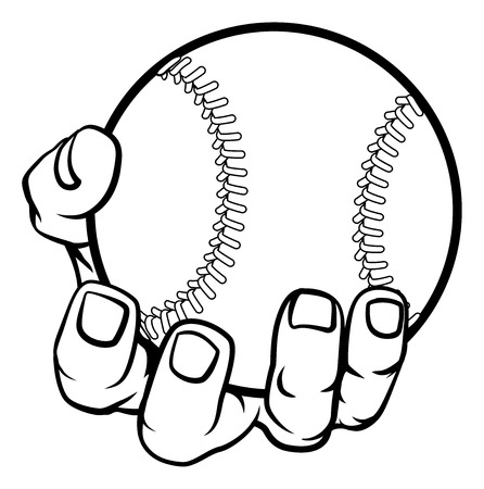Mano sosteniendo una pelota de béisbol