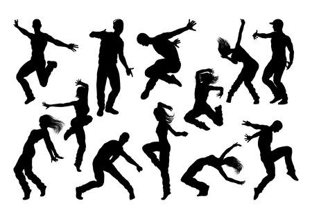 Street Dance Dancer Silhouettes Vectores