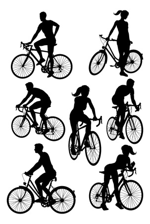 Bicycle Riding Bike Cyclists Silhouettes Set