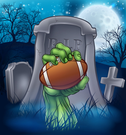 A sports Halloween graveyard illustration with a zombie hand breaking out of a grave holding an American football ball. Vektorové ilustrace