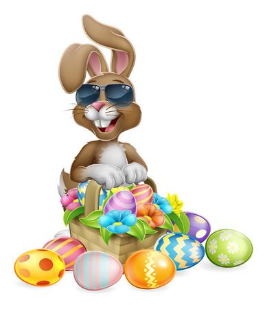 Easter Bunny Cool Rabbit Eggs Hunt Basket Cartoon