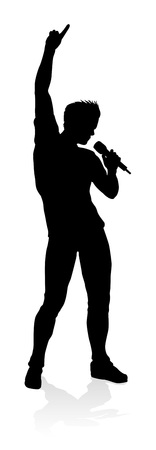 A singer pop, country music, rock star or hiphop rapper artist vocalist singing in silhouette Ilustração