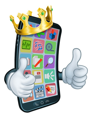 A mobile phone cartoon character mascot wearing a gold king crown and giving a double thumbs up.