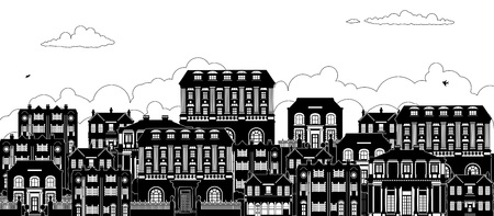 Houses Victorian Georgian Silhouettes Row Street Illustration