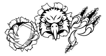 Eagle Football Cartoon Mascot Ripping Background