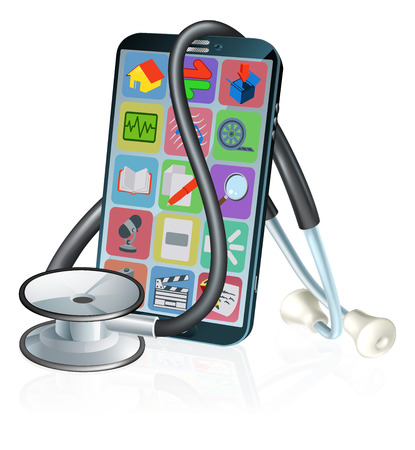 Mobile Phone Medical Health App Stethoscope Design Standard-Bild - 115206137
