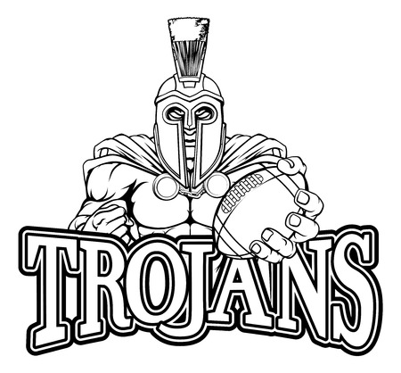 Spartan Trojan American Football Sports Mascot Illustration