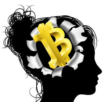 A womans head in silhouette with gold Bitcoin sign symbol. Concept for thinking or dreaming about making money with Bitcoin
