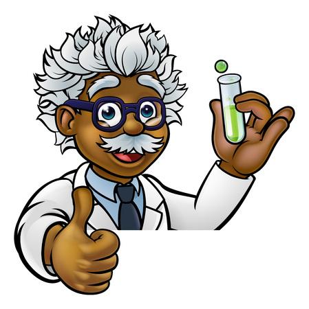 Cartoon Scientist Holding Test Tube Thumbs Up
