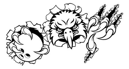Eagle Bowling Cartoon Mascot Tearing Background