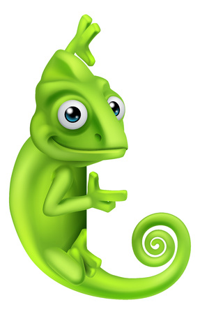 Chameleon Cartoon Lizard Character Иллюстрация