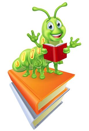 Reading Caterpillar Worm Bookworm on Books Ilustración de vector