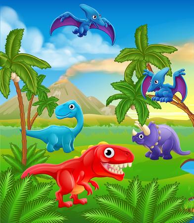 Una escena de paisaje prehistórico de fondo animal lindo de dibujos animados de dinosaurio.