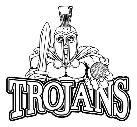 Spartan Trojan Golf Sports Mascot Illustration