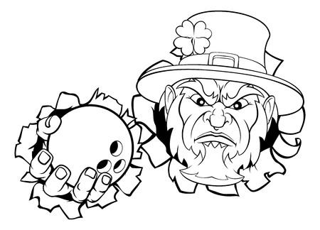Leprechaun Bowling Mascot Ripping Background Illustration