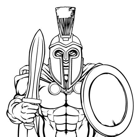 Spartan Trojan Sports Mascot Illustration