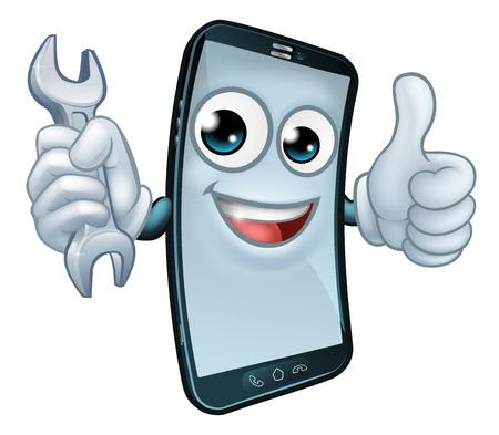 Llave de reparación de teléfonos móviles Thumbs Up Mascot Ilustración de vector