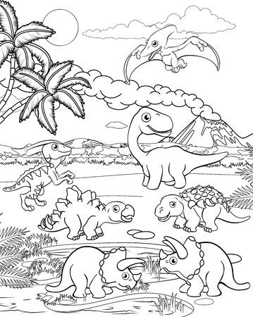 Une scène de contour de coloration de paysage préhistorique de fond animal mignon de bande dessinée de dinosaure. Vecteurs