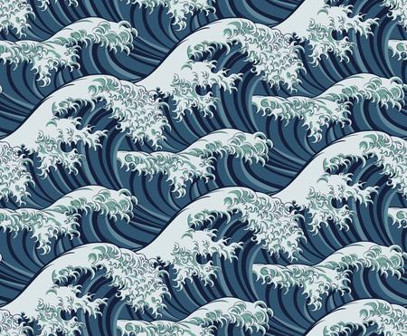 Fondo de patrones sin fisuras de gran ola japonesa