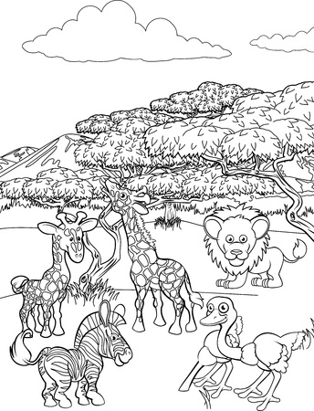 A safari cartoon cute animal background African savannah landscape coloring outline scene. Standard-Bild - 121753377