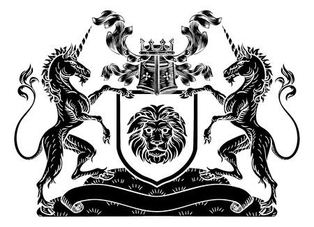 Shield Crest Unicorn Coat of Arms Heraldic Stock Illustratie