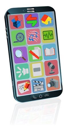 A generic mobile or cell phone with a touch screen full of app ions Illustration