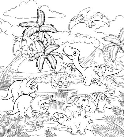 Una caricatura de dinosaurio lindo fondo animal paisaje prehistórico para colorear escena de esquema.