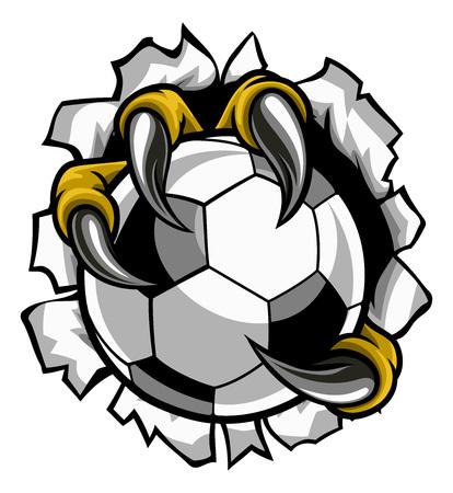 Balón de fútbol con garra de águila y garras sobre fondo de desgarro