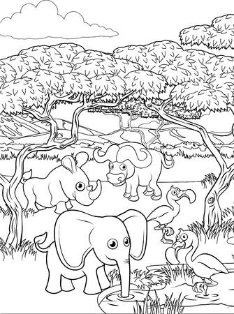 Una caricatura de safari fondo animal lindo paisaje de sabana africana para colorear escena de contorno.