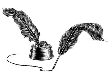 Dos plumas y tintero