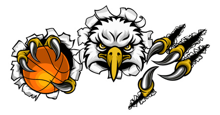 Eagle Basketball Cartoon Mascot Tearing Background Vectores