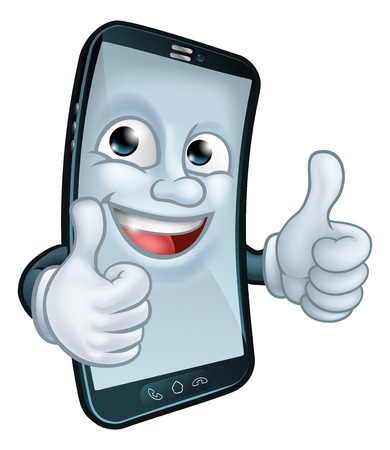 Mobile Phone Thumbs Up Cartoon Mascot 일러스트