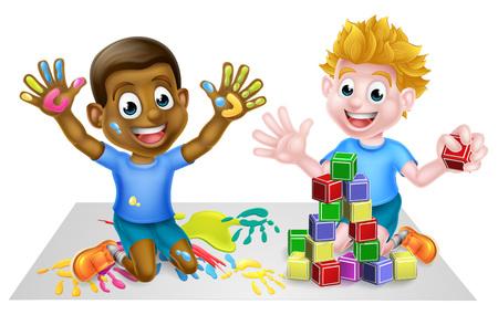 Cartoon Boys Playing with Toys 向量圖像