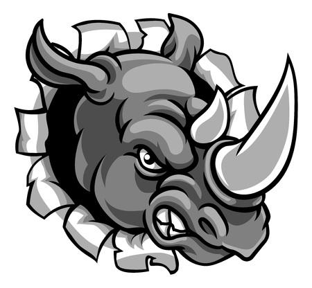 Rhino Mean Angry Sport Maskottchen Breaking Background
