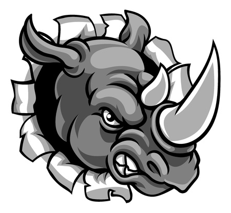 Rhino Mean Angry Sports Mascot Breaking Background Ilustração