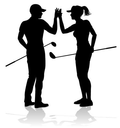 Golfista, golf, deportes, gente, en, silueta