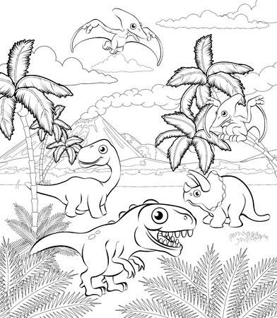 Eine prähistorische Landschaftsfarbton-Umrissszene des Dinosaurierkarikatur niedlichen Tierhintergrundes. Vektorgrafik