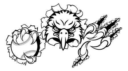 Eagle Baseball Cartoon Mascot Ripping Background