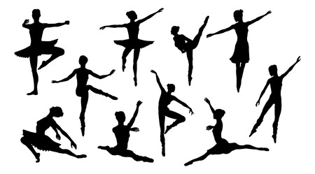 Silhouettes of a ballet dancer dancing in various poses and positions Foto de archivo - 121753391