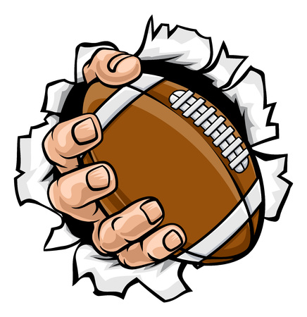 Football Ball Hand Tearing Background Imagens - 119269117