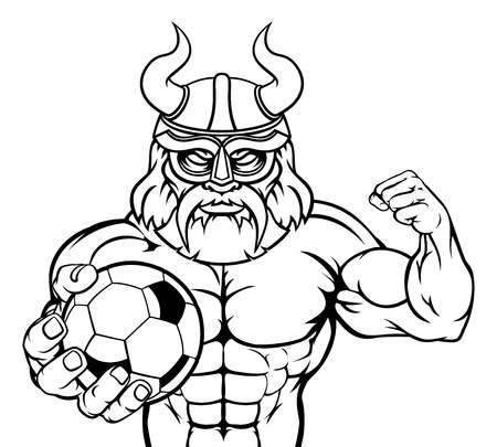 Viking Soccer Football Sports Mascot Çizim