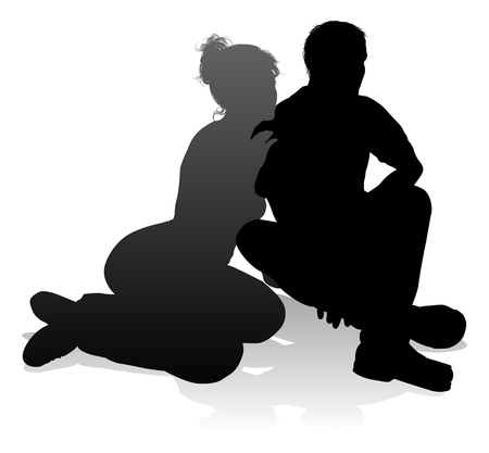 Young Couple People Silhouette Stock Illustratie