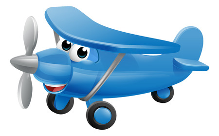 Airplane cartoon character mascot. An illustration of a cute blue small or toy aeroplane