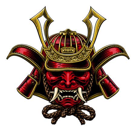Una máscara de samurai ilustración de casco de guerrero shogun japonés