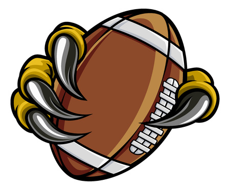 Eagle Bird Monster Claw Holding Football Ball Stock Illustratie