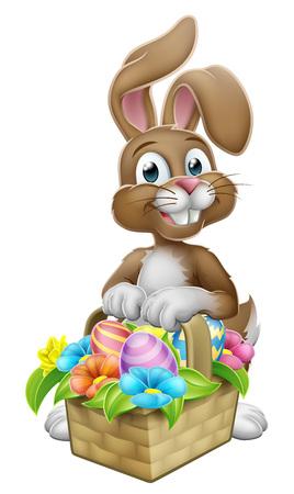 An Easter bunny rabbit cartoon character with a basket on an Easter egg hunt Standard-Bild - 121753398