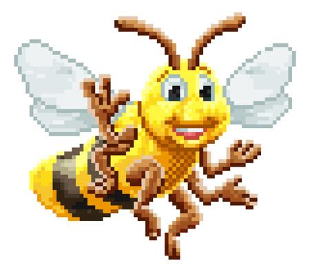 Honey Bee 8 Bit Pixel Game Art Cartoon Character Banco de Imagens - 116873900