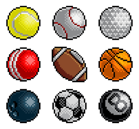 Pixel Art 8 Bit Video Arcade Game Sport Ball Icons